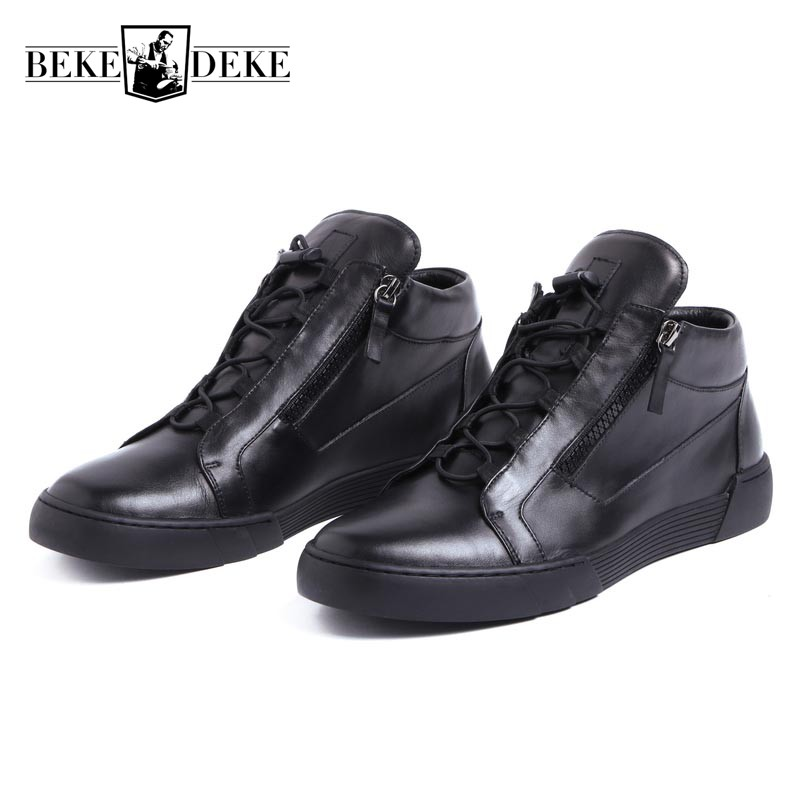 Brand Men Genuine Leather Casual Shoes Lace Up Zipper Punk Flats Comfort Breathable Tenis Male Footwear Fashion School Boy Shoes new 2017 men s genuine leather casual shoes korean fashion style breathable male shoes men spring autumn slip on low top loafers