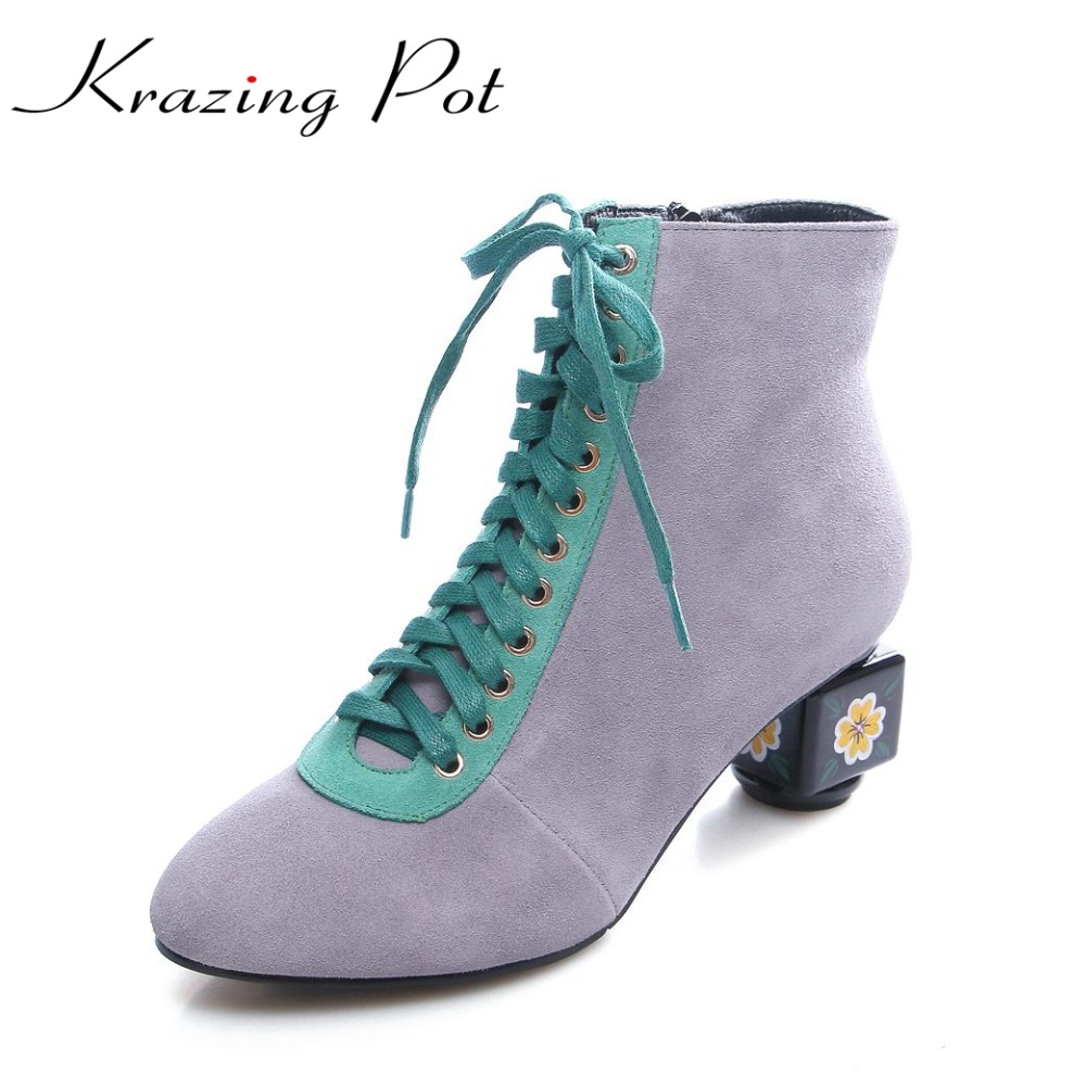 Krazing Pot fashion brand winter shoe flower art high heels women round toe lady warm T-tied lace up mixed color ankle boots L10 t art блузка
