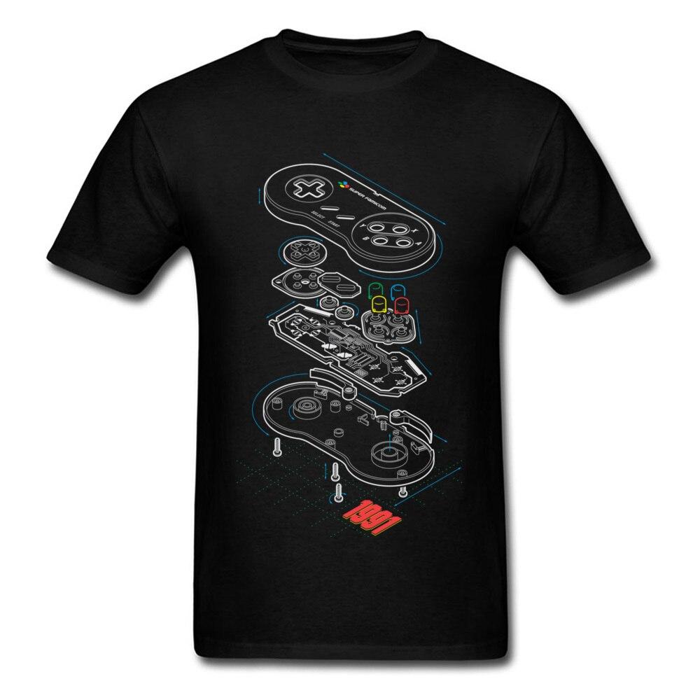 Custom   T  -  shirt   Gamer   T     Shirt   Men Controller Anatomy Tops Tees Hip Hop Streetwear Students Arcade Tshirt Black Clothes Cotton