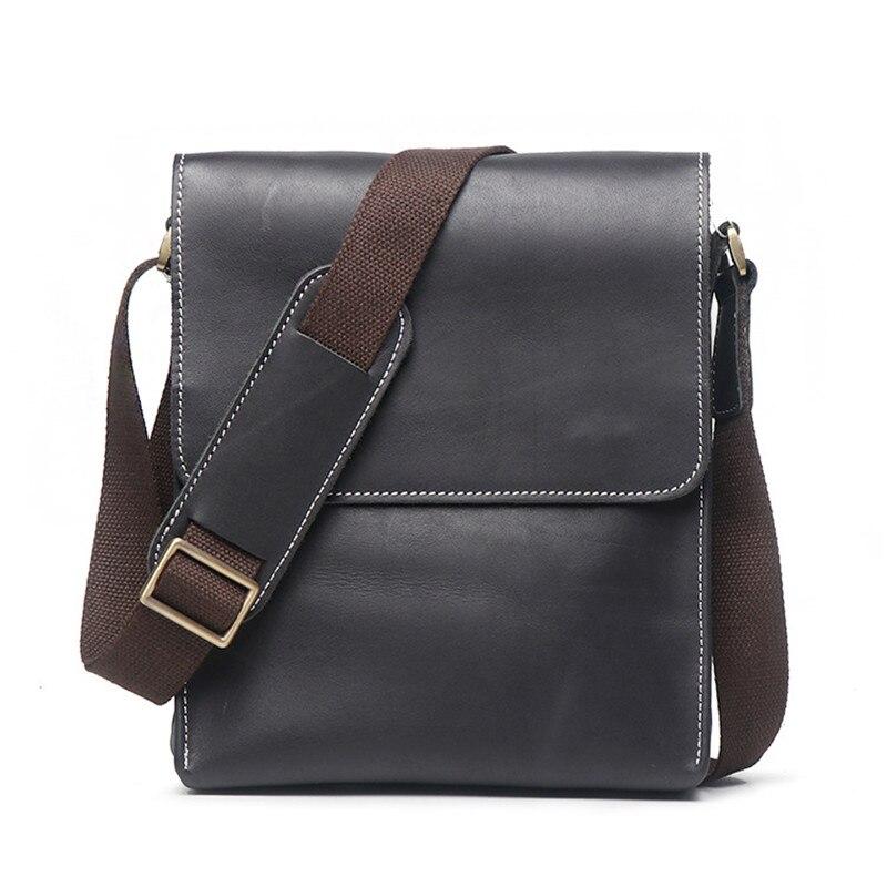Male Genuine Leather Messenger Bag Men Crazy Horse Casual Mens Shoulder Crossbody Bag for Teenager Boys Travel Business Bag