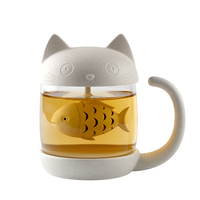 Cute Cat Glass Personality Milk tea With Infuser Office Coffee Tumbler Creative Breakfast cup Christmas gift