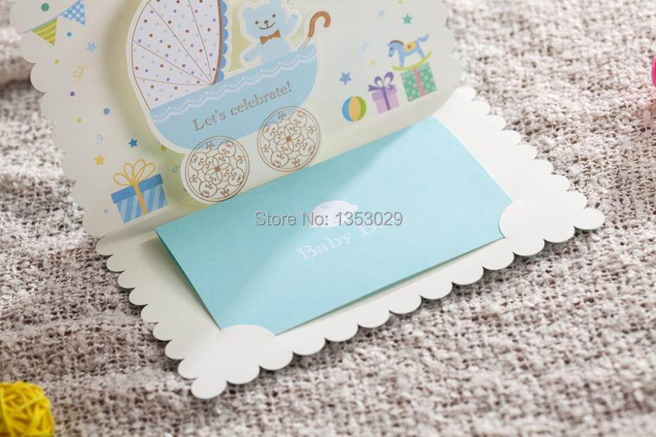 free shipping 50pcs/lot new arrival baby shower folded invitation, Baby shower invitations