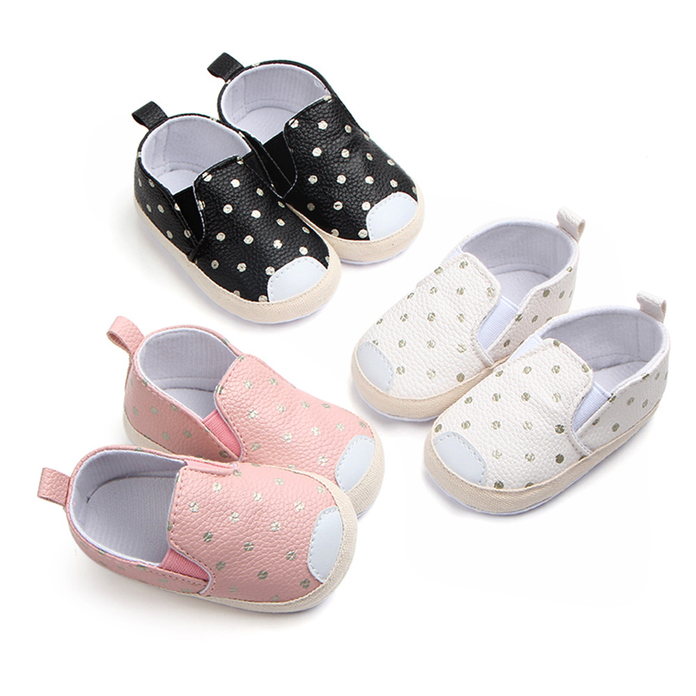 Baby Girls Boys Dot Skate First Walkers Newborn Soft Soled Anti-Slip Shoes Anti-slip design keeps baby in safe