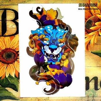 Tatuaje temporal del diablo de la vaca azul Arte del cuerpo tatuaje pegatinas 12*20cm tatuaje de Henna impermeable decoración de pared del hogar