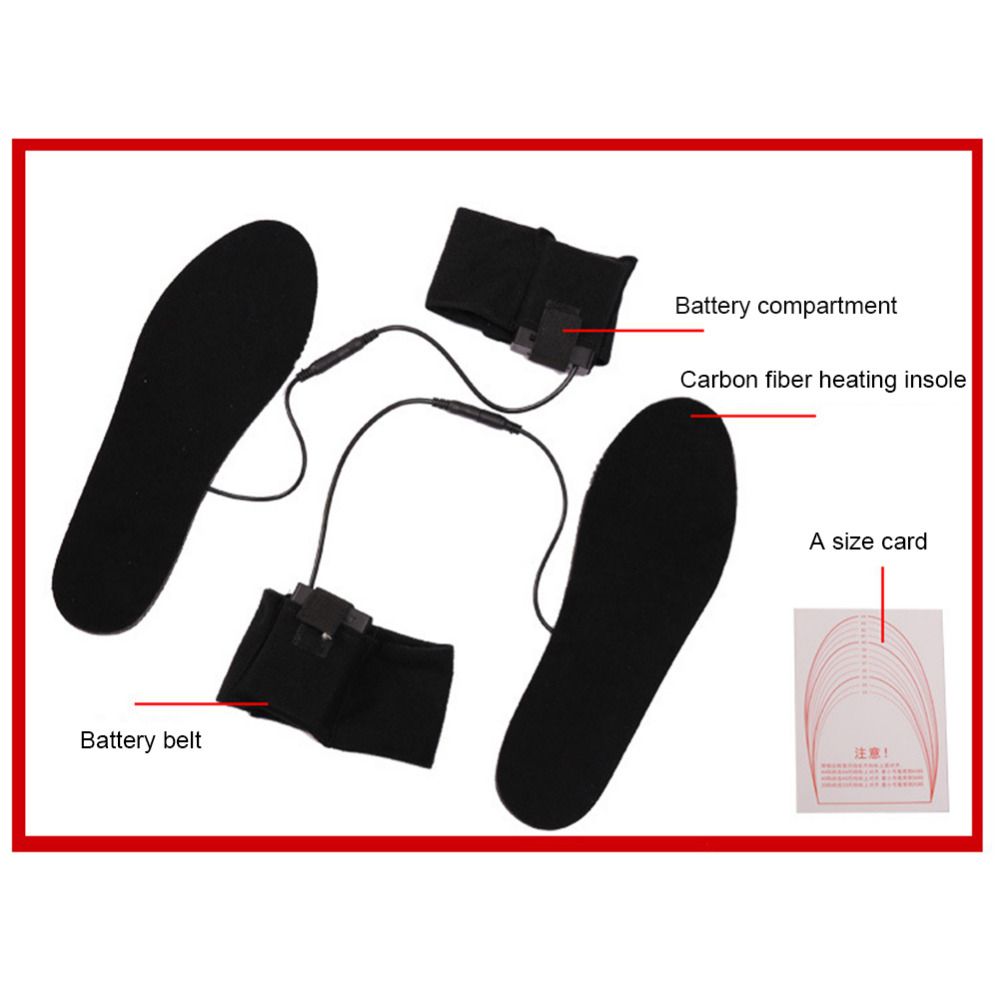 New 4.5V Cuttable Carbon Fiber Heated Insoles Powered By Dry Batteries Thermal Foot Warmer Health Soles Without Batteries