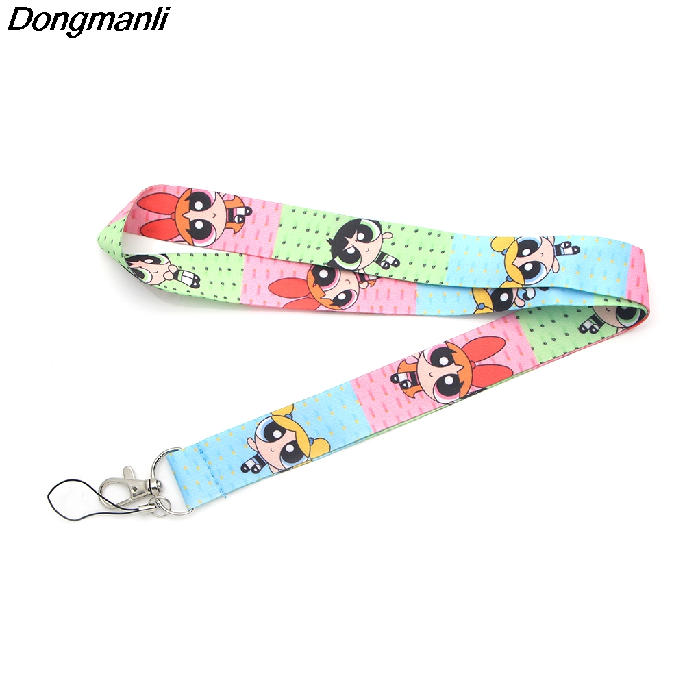 P2363 Dongmanli The Powerpuff Girls Lanyard For Keychain ID Card Pass Gym Mobile Phone Badge Holder Hang Rope Lariat Key Holder