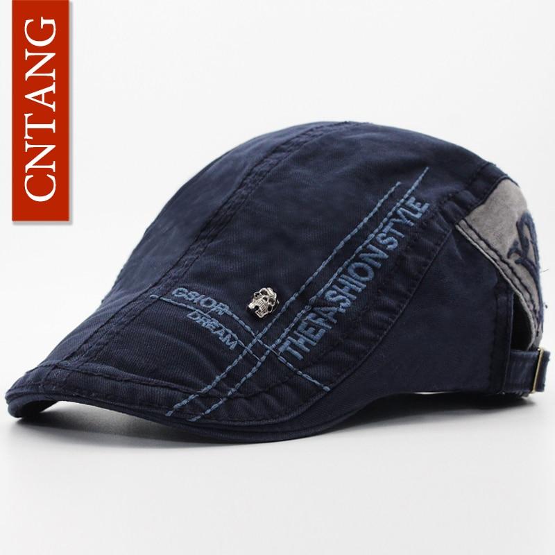 CNTANG Casual Letter Embroidery Skull Beret Cotton Visor Cap For Men Brand Fashion Hat Retro Flat Caps Button Adjustable Berets