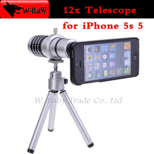 online store a0fd4 a0e09 12x Optical Zoom lens Telescope for iPhone lens camera for iPhone 5s 5  mobile phone lens,with tripod / case/retail box,40 pcs-in Mobile Phone  Lenses ...