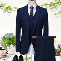 2018 Blue lattice men suit Groomsmen Suits Slim Fit wedding suits for men Prom Dinner Suit Groom Tuxedos costume homme mariage