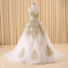 Hot Sales Applique Princess White and Gold Wedding Dresses 2016 New Court Train Sweetheart Ball Gown Organza Bridal Gowns W305