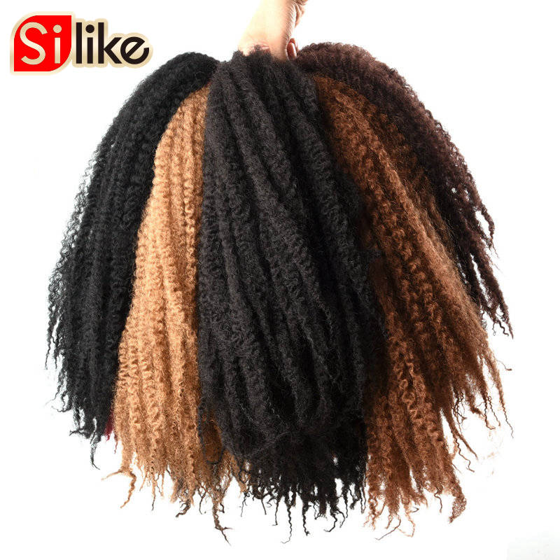 Afro Kinky Twist Hair Crochet Braids 10 färger Marly Braid Hair 18 tum Senegalese Curly Crotchet Syntetisk Braiding Hair Silike