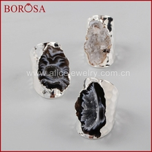 BOROSA New Druzy Silver Color Freeform Natural Stone Open Band Rings, Fashion Gems Party Rings for Women Men S1388