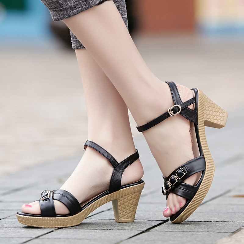 Beading Real Leather Women's Sandals Comfortable Platform Shoes Large Size 40-43 New 2017 Summer Shoes High Heels Sandals Women