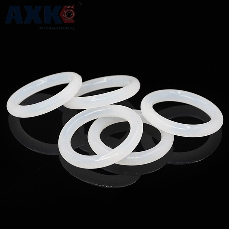 AXK White Silicon O-ring Seals 4mm Thickness Food Grade Rubber O Rings Sealing Gasket Washer OD 25/26/27/28/29/30/31/32/33/34mm white silicon o ring seals gasket food grade 2 5mm thickness 37 38 39 40 41 42 43 44 45 46mm od o rings sealing gasket washer