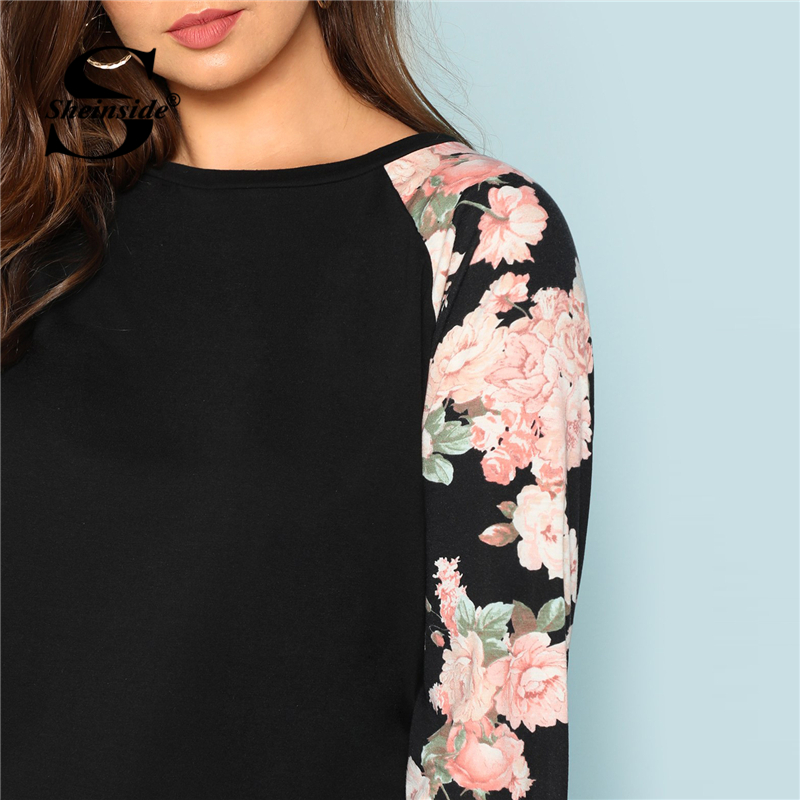 d0bd3695 Sheinside Plus Size Black T Shirt Women Round Neck Floral Raglan Sleeve  Tops 2018 Autumn Womens Clothing Long Sleeve Tee Shirt -in T-Shirts from  Women's ...