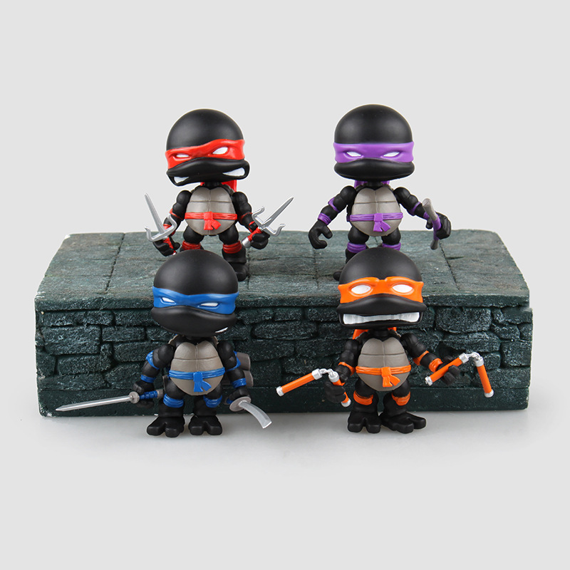 4pcs Pack Limited Version Black Mutant Ninja Turtles Action Figure Toys Cute Anime Birthday Christmas Gift for Adults Kids o for u 50pcs lot action figures toys anime moose trash pack dolls kids playing garbage mini doll christmas gift free shipping