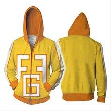 My Hero Academia bluza z kapturem Cosplay żółty 3D Print Zipper Fatgum bluzy z kapturem bluzy damskie i męskie