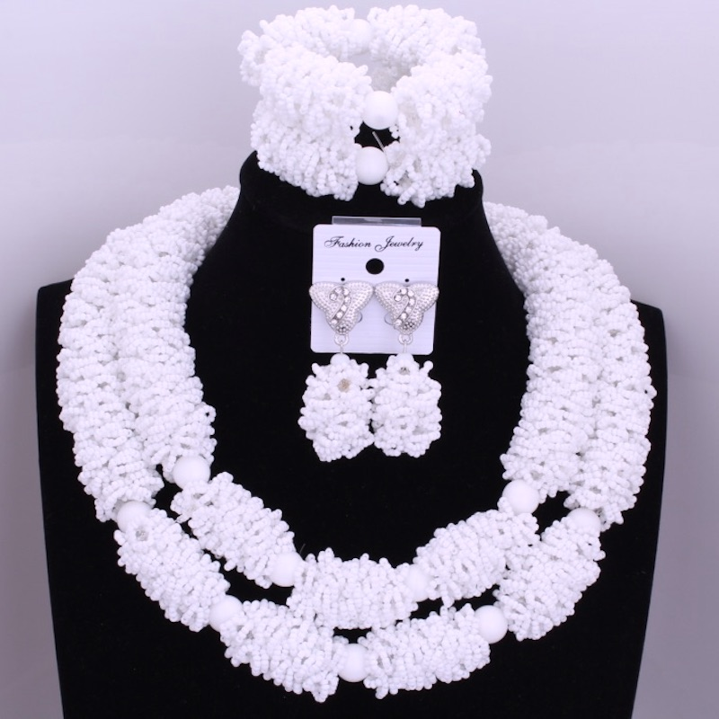 Splendid African White Beads Jewelry Sets Nigerian Wedding Crystal Pendant Statement Necklace Set of Beads For Brides Women Hot