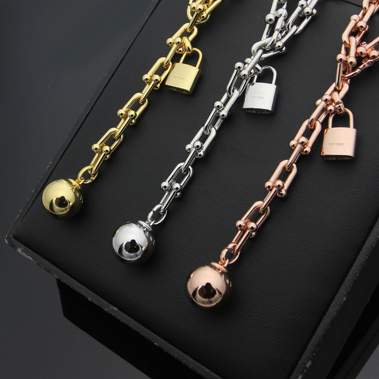 High quality T letter stainless steel beads lock Necklace for women sweater U sharpe chain rose gold color Fine Jewelry