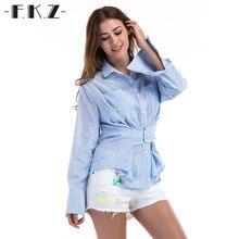 d6e8d75609c FKZ nueva llegada blusa mujeres elegante suelta de manga completa turn-Down  collar azul color