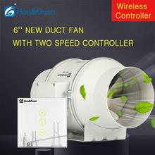 6 220V Air Extractor Mixed Flow Muffler Conduit Fan with Two Speed Wireless Controller Fans For Kitchen Bathroom