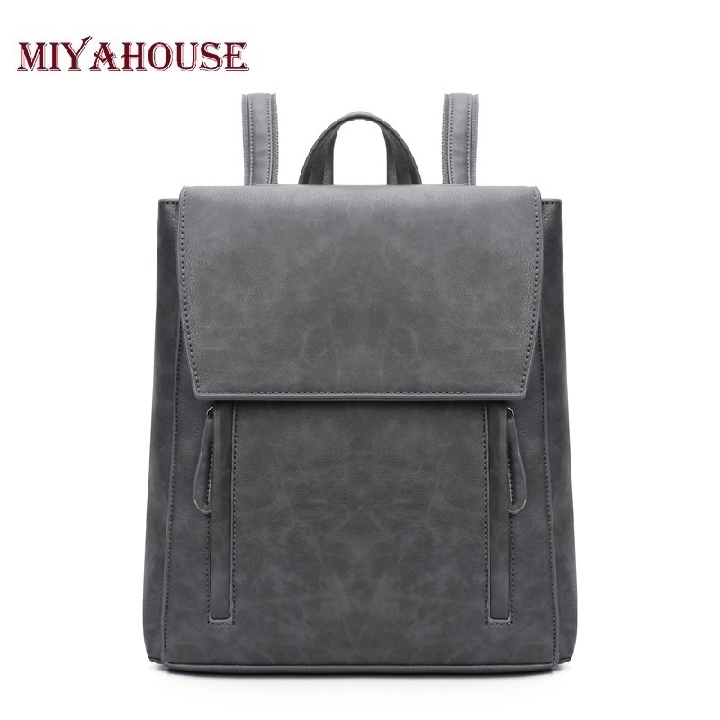 Miyahouse Women Backpack High Quality PU Leather Mochila Escolar School Bags For Teenagers Girls Top-handle Backpacks Fashion women vintage backpack high quality pu leather mochila escolar school bag for teenagers girls top handle casual large backpacks