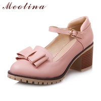 Meotina Women Pumps Lolita Shoes Platform High Heels Pink Shoes Bow Mary Jane Ladies Sweet Party