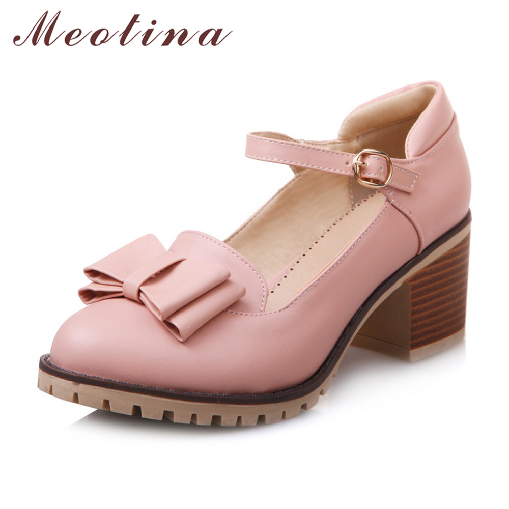 Meotina Women Pumps Lolita Shoes Platform High Heels Pink Mary Jane Shoes Bow Block Heel Ladies Party Shoes Large Size 33-43 meotina genuine leather women shoes female plaid party shoes block heel bow strap high heels kid suede ladies pumps 2018 spring