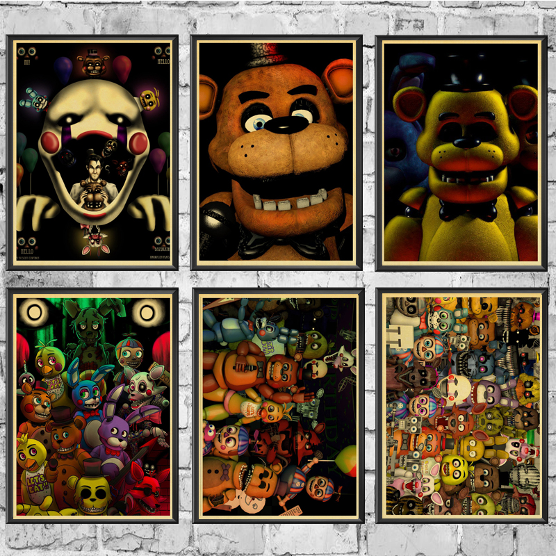 Five Nights At Freddys Game Retro Poster Home Decoration Kraft Poster Painting Wall Stickers