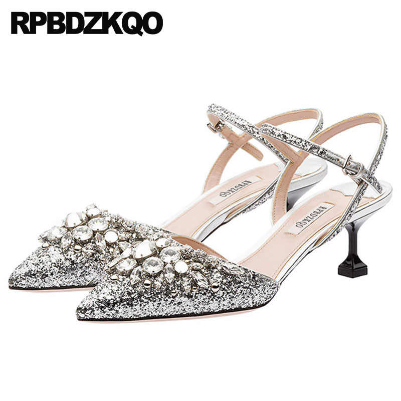 0c5f82f2a32b2b Rhinestone Ankle Strap Thin Cinderella Ladies Gold Shoes Crystal Pointed  Golden Bling High Heels Pumps Glitter