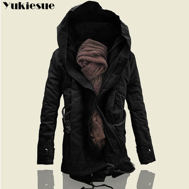 2018 New Men Padded Parka Cotton Coat Winter Hooded Jacket Mens Fashion large size Coat Thick Warm Parkas Black army green 6XL Others Men's Fashion