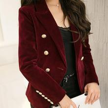 2017 Spring and Autumn new Slim gold velvet small suit jacket female leisure blazer