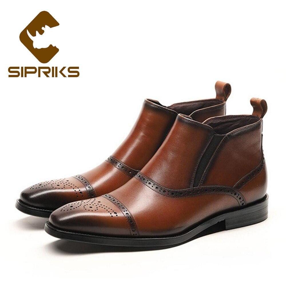 SIPRIKS unique designer genuine leather chelsea boots classic mens brogue  slip on dress boots elegant black martin boot european ab759a7ca686