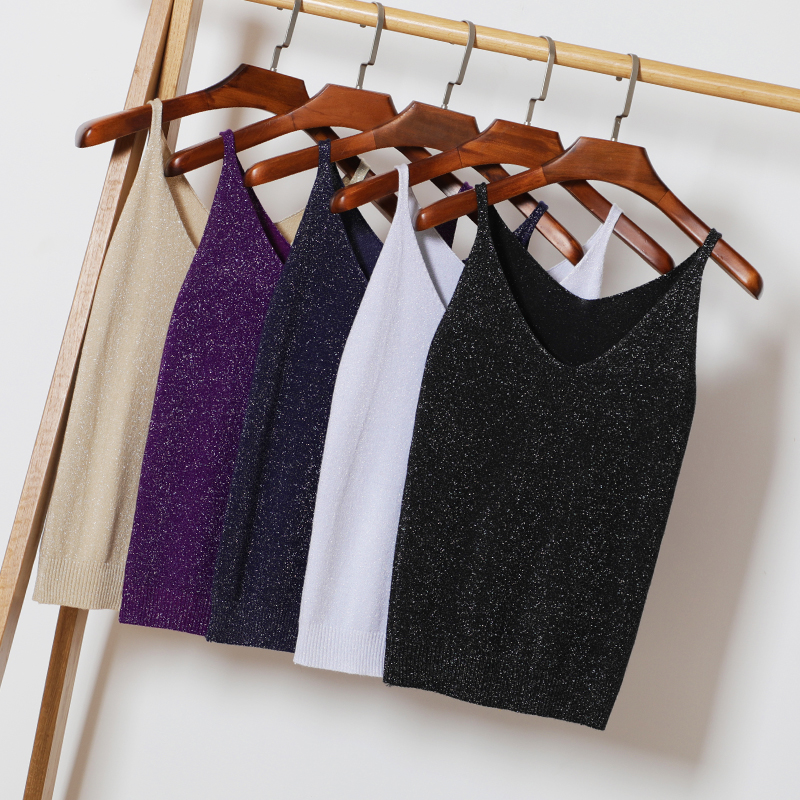 Knit Camis   Top   Women Knitting   Tank     Tops   Camises Girls Basic Knitwear Camisole Sleeveless Sweater T-shirts Camis For Female