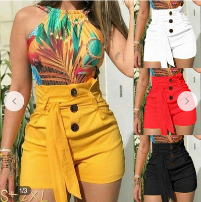 Women's Fashion High Waist Button Shorts Slim FIt Casual Beach Shorts Summer Short Pants With Belt