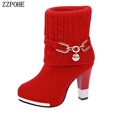 Women Snow Boots Female Fashion High Heels Ankle Ladies Platform Warm Winter Shoes Christmas boots