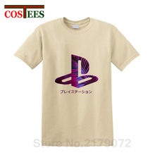 Creative Japan style purple glow plam leaf design PS Logo T shirt Video Game playstation T-shirt Men fans tshirt 2018 Summer Tee(China)