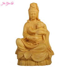 JIA-GUI LUO Boxwood carving living room decoration ornaments crafts Feng Shui Goddess of Mercy Buddha birthday gift A045
