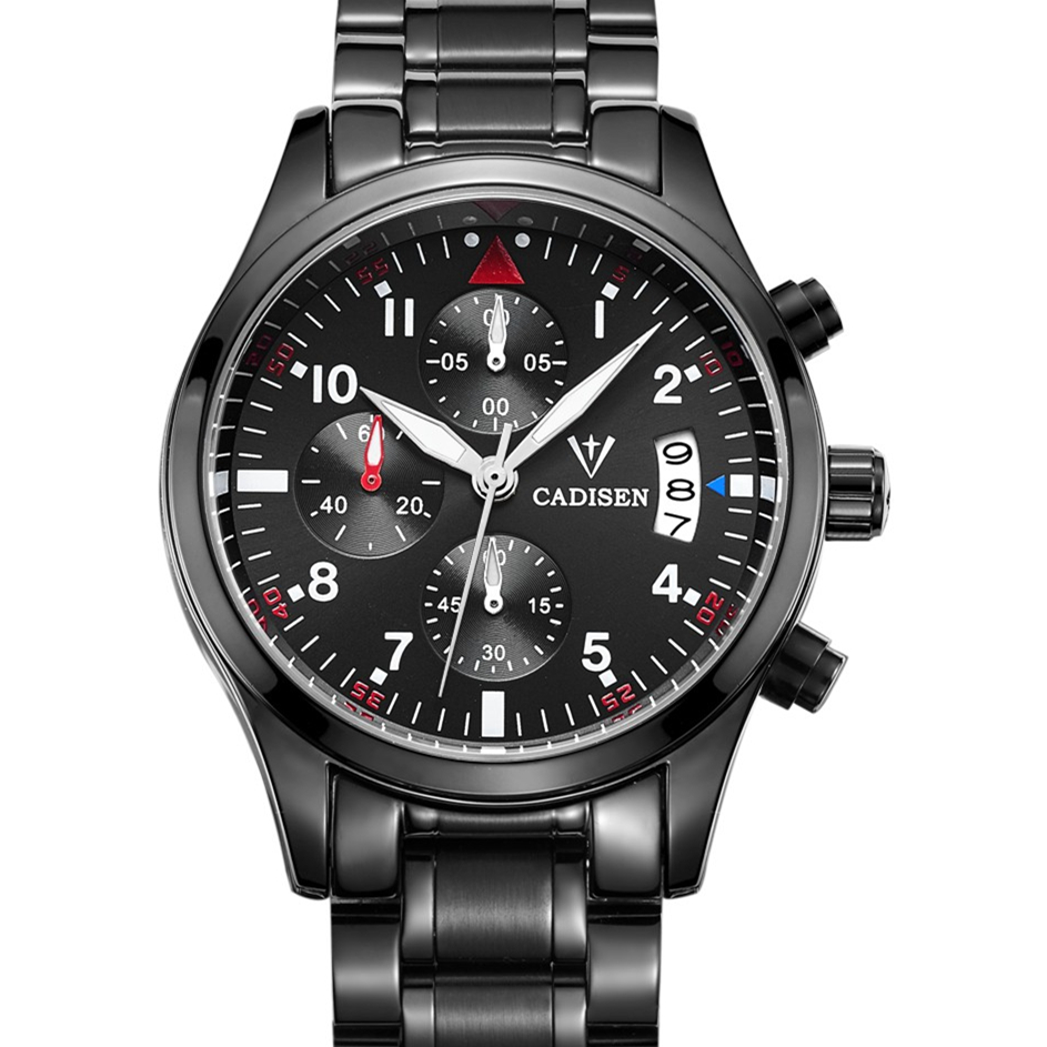 ФОТО Fashion Sport Chronograph Men's Watches Waterproof 30M Brand CADISEN Business Quartz Watch Relogio Masculino Montre Homme
