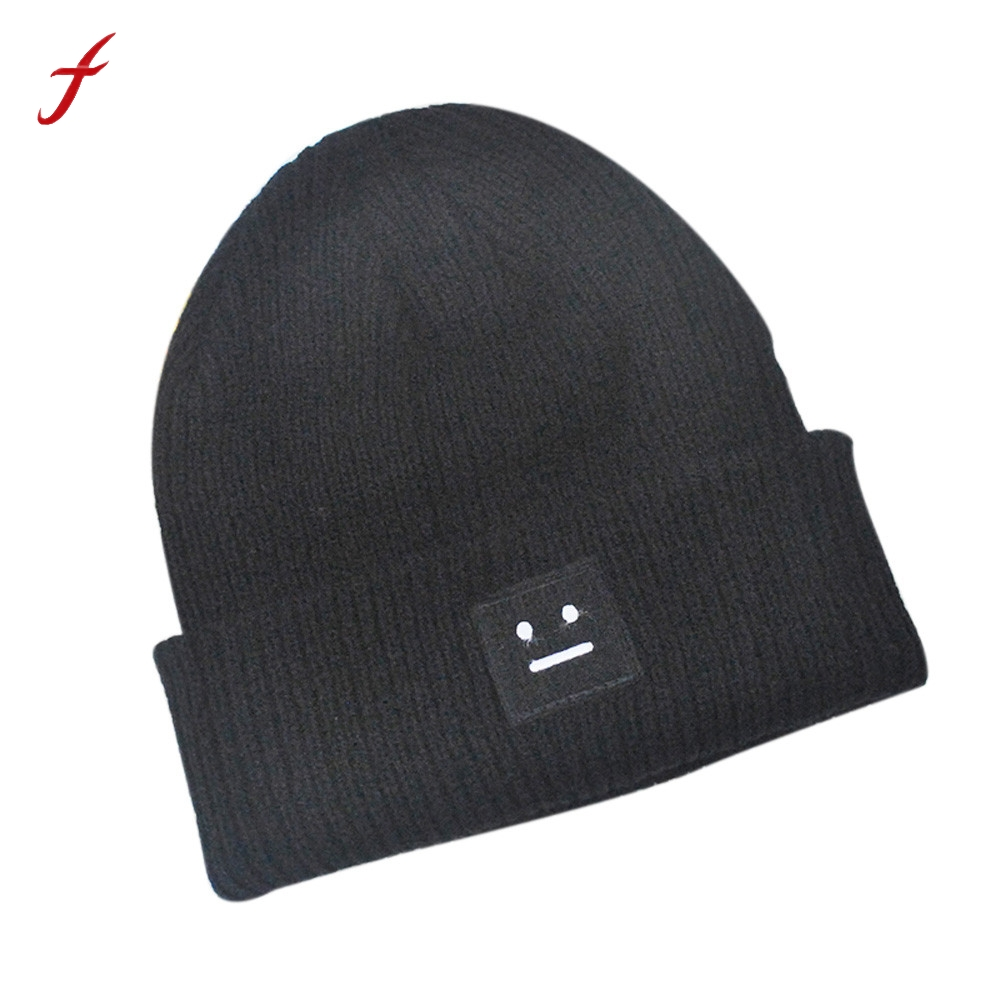 Trendy Chic Knitting Slouchy Baggy Winter Hat Oversize Unisex Hat Square smiley knit hat Style Classic Fashion Trend cap 2017 hot winter beanie knit crochet ski hat plicate baggy oversized slouch unisex cap