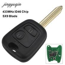 Jingyuqin controle remoto chave do carro 433mhz id46 chip para citroen saxo picasso xsara berlingo sx9 lâmina 2 botão chave fob