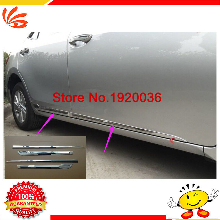 Car styling Chrome Body Side Door Trim Molding Exterior cover for Toyota COROLLA 2014 Door Side Molding Trim Side Door Trim abs chrome body side door trim molding exterior cover for hyundai santa fe ix45 2013 2015 door side molding trim side door trim