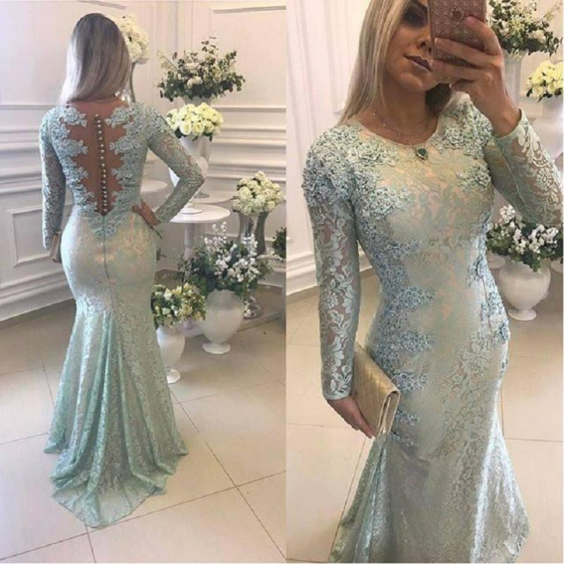 Vintage Arabic Mermaid Lace Evening Dresses Long 2019 Robe De Soiree Illsuion Back Long Sleeve Prom Dress Formal Party Gowns