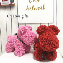 Fashion Creative Gift 40cm Rose Dog New Eternal PE Bubble Roses Tanabata Valentines Day Handmade Soap Flower Puppy