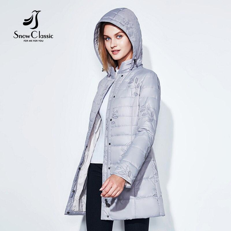 SnowClassic 2018 Весенняя мода Женская куртка Тонкая куртка Вышитый лист Хлопок Длинный капюшон Тепло и вентиляция