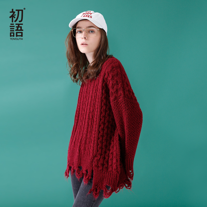 Toyouth Knitted Sweater Winter Women Knitted Ripped Round Neck Loose Sweater Pullovers Ladies Solid Color Tassel