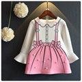 Otoño Niña Vestido de Princesa de Color Rosa de Manga Larga Vestidos Hermosa Linda niñas Vestido de Fiesta de Cumpleaños 2 5 8 Años de Edad Los Niños Ropa