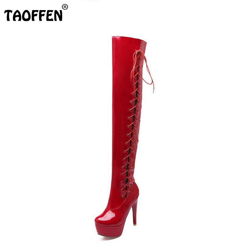 size 32-43 women high heel over knee boots fashion cross strap winter warm riding long boot sexy heels footwear shoes P20688 rizabina size 32 48 women square high heel over knee boot winter warm british boots knight long botas sexy footwear shoes p21743