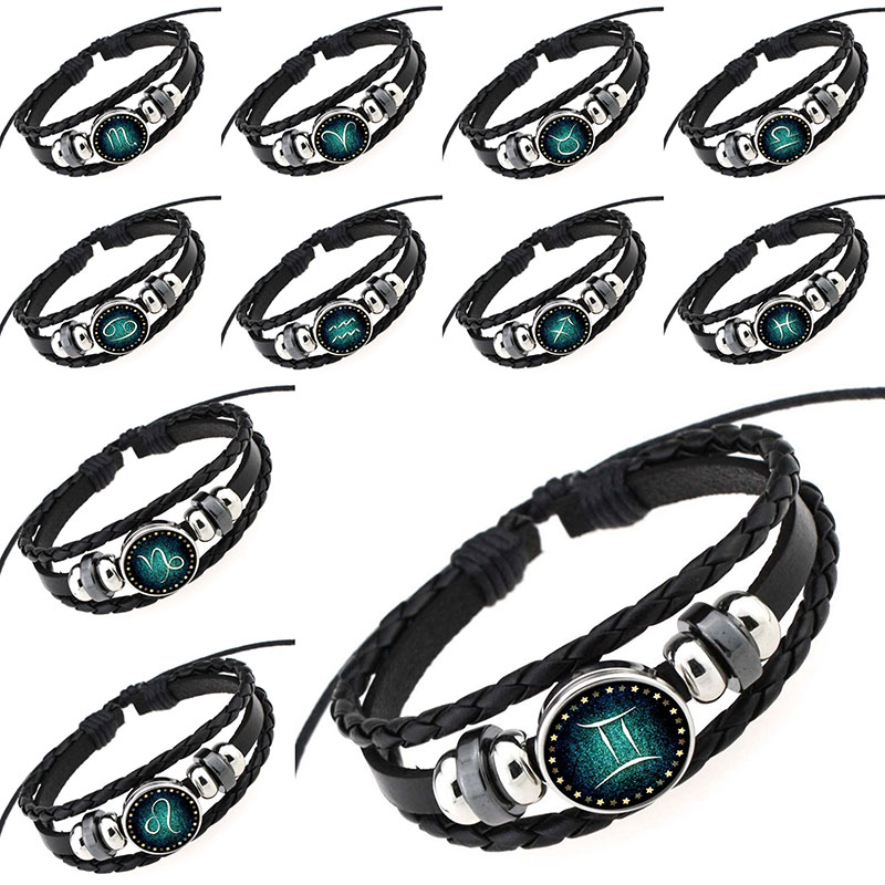 New Aries Taurus Gemini Cancer Virgo Scorpio Pisces 12 Zodiac Sign Bracelet Women Men Pulsera Genuine Braided Leather Bracelets
