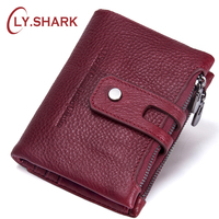 LY SHARK Genuine Leather Women Wallet Female Purse Lady Wallet Red Clutch Id Credit Card Holder